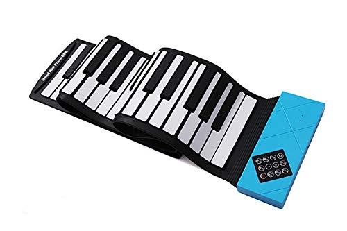 Piano electrónico Sjqzba con 88 teclas y teclado MIDI Portátil, plegable para principiantes, azul