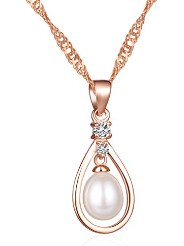 Unendlich U Fashion Träne des Engels Damen Halskette 925 Sterling Silber Zirkonia 7mm Perle Tropfen-Form Anhänger Kettenanhänger, Rosegold