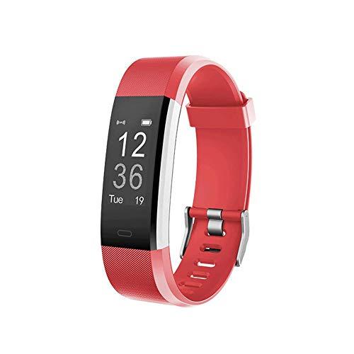 ZLLZ Smart Armband Herzfrequenz-Test wasserdicht Bluetooth Sport Armband Schritt Schlaf Überwachung, Fitness-Tracker tragbare Smart Armband Damen Herren Kinder-red -