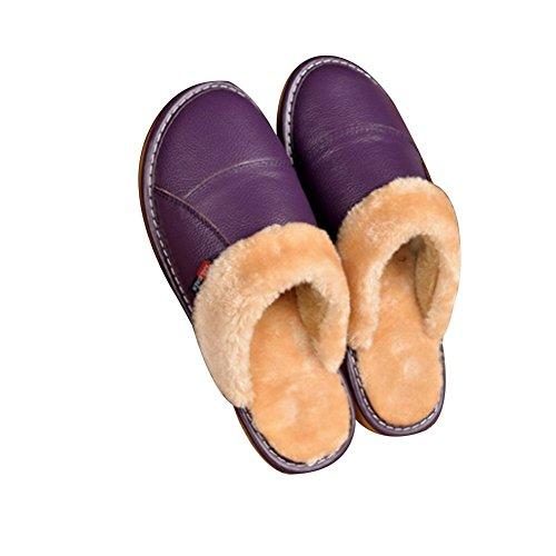 Tellw Pantoufles En Cuir Maison Hommes Dames Intérieur En Bois Plancher Non-slip Chaud Fluff Pantoufles Pourpres