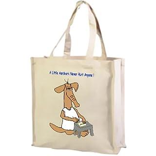 Cartoon, A Little Aardvark Never Hurt Anyone! Cotton Shopping Bag, Cream