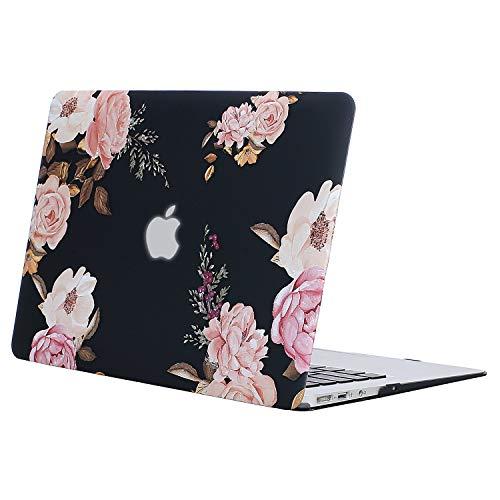 MOSISO Hülle Kompatibel MacBook Air 11 Zoll - Ultra Slim Hochwertige Plastik Hartschale Schutzhülle Snap Case Kompatibel MacBook Air 11 (A1370 / A1465), Pfingstrose auf Transparente Schwarze Basis
