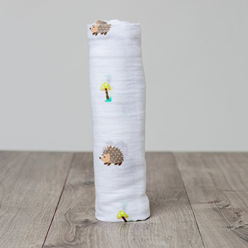 Lulujo Baby-Mulltuch Spucktuch mit schönem Motiv Igel 120 x 120 cm Baumwolle