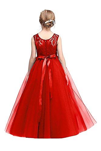 Kinder Tüll Hochzeitskleid Blumenmädchenkleid Rot Gr.140