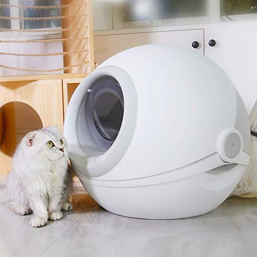 Runde große Katze Wurf Tablett Katze Wurf Box mit Katze Wurf Scoop, Kohlenstoff gefiltert, vollständig umschlossen abgerundetroll-Top-Deckel, Splash Prevention Katzentoilette mit 12 Sets,Gray - Splash Top