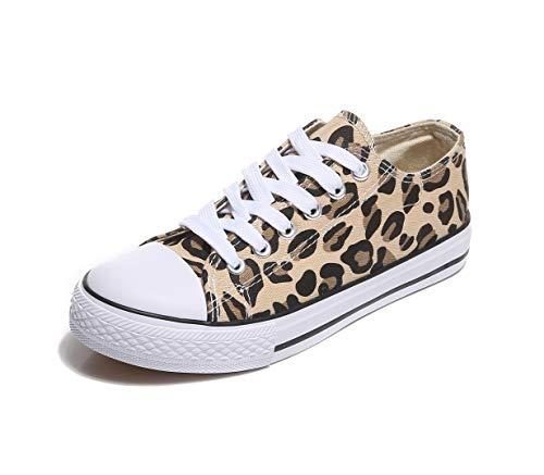 Frentree Unisex Damen Herren Sneaker Low Bequeme Leinenschuhe zum Sommer, Größe:38, Farbe:Leopard -