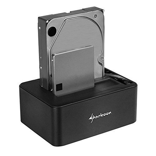 Sharkoon Quickport Duo Clone USB 3.1 Type C HDD Docking Station Schwarz