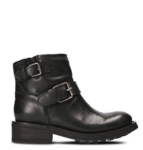 Ash Women's Trick01napblc Black Leather Ankle Boots