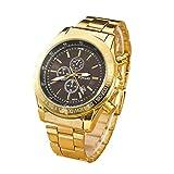 Whobabe, Herren-Armbanduhr, Stahlgürtel, Kalender, Quarzuhrwerk, 3 Augen, Persönlichkeit, Gold Goldfarben/Schwarz