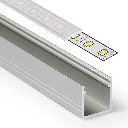 1m LED Aluprofil SMART (SM) Aluminium Profil-Leiste eloxiert für LED Streifen - Set inkl Abdeckung-Schiene satiniert-frosted diffuse halbtransparent mit Montage-Klammern und Endkappen (1 Meter satiniert slide) - Satiniert Mit Streifen