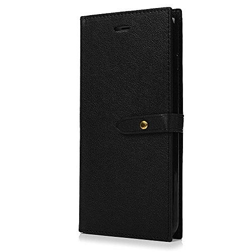 """MAXFE.CO Schutzhülle Tasche Case für iPhone 7 Plus 5.5"""" PU Leder Flip Tasche Cover Einfarbig Geschäftstil im Ständer Book Case / Kartenfach Braun Schwarz"""