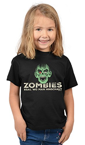 Kinder Halloween T-Shirt - Kindershirt Halloweenparty : Zombies egal wo Man hinschaut - Kinder Tshirt Spruch Monster Zombie Gr: L = 146-152