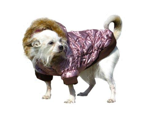 Dicker Steppmantel in rosa mit Fell-Kaputze - Winterjacke Hund Bekleidung für Hunde Hundebekleidung und Hundemantel günstig M57 Gr. XS