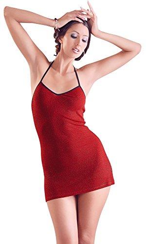 - 41 2BJL4OV5JL - ORION Kleid – Minikleid für Frauen, erotisches Glitzerkleid mit Neckholder, sexy Partykleid zum Ausgehen oder Verführen, rot