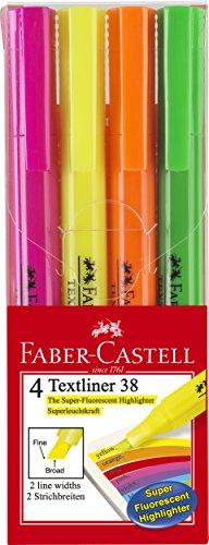 Faber-Castell A.W. 157704-Evidenziatore Textliner 38, confezione da, colori assortiti