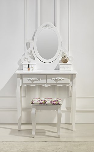 Schminktisch Spiegeltisch Spiegel inkl. Sitzbank im Barockstil weiß L #41
