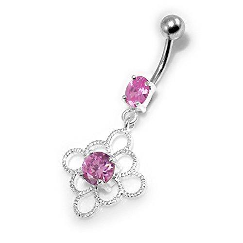 Barres de Pierre en cristal fleur celte tendance Design 925 argent Sterling avec le ventre en acier inoxydable Pink