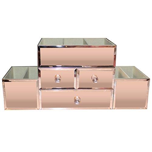 Kurtzy Makeup Organizer - Rose Gold Spiegel Schmuck Box mit 3 Schubladen 7 Abschnitt & Glas Reinigungstuch - Kosmetik Veranstalter fur Dressing Tisch Zubehor, Make-up Lagerung, Nail & Lip Brush