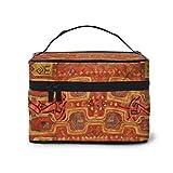 Borsa da viaggio per cosmetici con motivo orientale, in moquette, colore: rosso