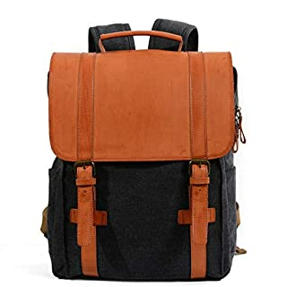WYFDM School Backpack, Retro Design School Bag Big Backpack College Travel Fashion Bag, Series Rucksack,Black