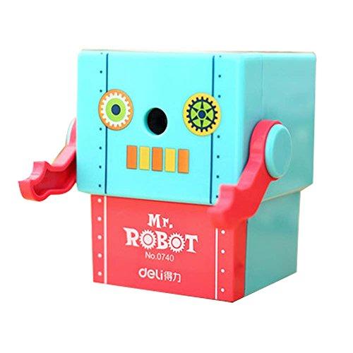Bunte Roboter-Muster Coole Desktop-Handkurbel Anspitzer