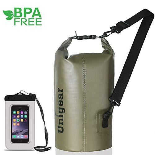 Unigear Sacs Imperméables/Sacs Etanches pour Activités de Plein Air et Sports Aquatiques Camping Nautique Kayak Pêche (6 Types de Taille: 2L/5L/10L/20L/30L/40L) avec une pochette étanche de Téléphone (Vert Foncé, 10L)