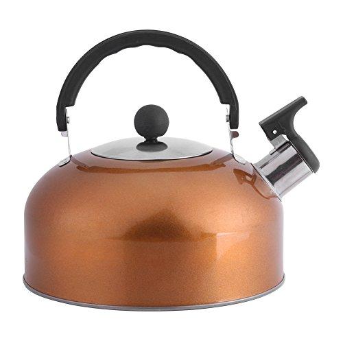Fdit Wasserkessel Edelstahl flache Basis Bell Sound Topf für Boot Camping Angeln Küche Gas große Auslauf Kaffee Wasserkocher Hemisphere Heißwasser Teekanne schnell kochen - Camping-kaffee-topf Edelstahl