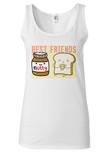 Best Friends Nutella And Butter Bread White Women Vest Tank Top **Blanc