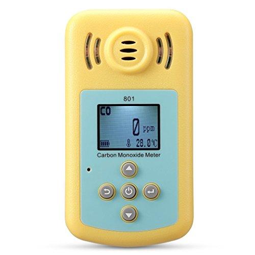 Tonor Tragbar 0-2000ppm Kohlenmonoxid-Detektor Brennbarer Gas-Detektor Warngerät Alarm Gasmelder Gaswarner Tragbarer Gasübertritt Tester mit Ton Licht Vibration Gas Tester Monitor Warnmelder Sicherheitsüberwachung Gelb