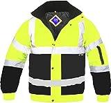 Hi Viz - Herren Männer Bomber Jacke Zweifärbig Reflektierendes Band Wasserfeste Gesteppte Sicherheits Arbeitsjacke - Gelb/Marineblau, XL