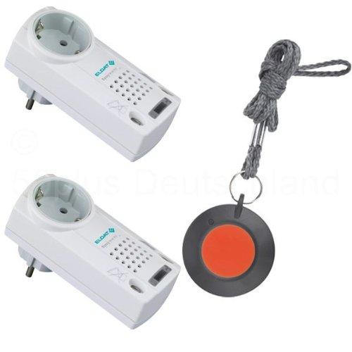 Pflegeruf-Set / Hausnotruf / Senioren-Hausalarm / Senioren-Sicherheitspaket 6 - (mit Funk-Halsbandsender und zwei Steckdosen-Empfängern mit Quittierungsfunktion)