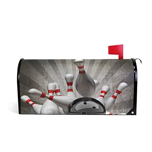 DOSHINE Vintage Sport Bowling Ball Briefkasten-Abdeckung, magnetisch, Briefkasten-Umschlagbox, Übergröße 63,5 x 53,3 cm, Heimdekoration