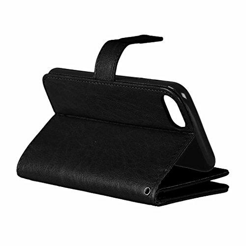 iPhone Case Cover Flip Folio Solid Color Premium-Kunstleder Ständer Wallet mit 9 Card Cash-Steckplätze für IPhone 7 4,7 Zoll ( Color : White , Size : IPhone 7 ) Black