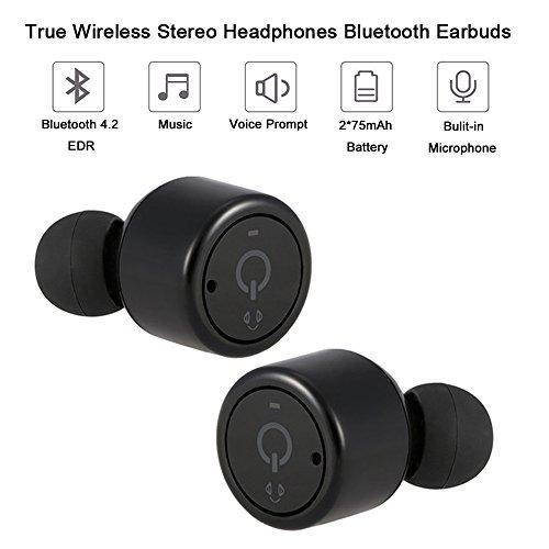 Yizhet Mini-casque Bluetooth sans fil intra-auriculaire Bluetooth V4.2 stéréo Surround son casque avec micro pour iPhone Samsung, Android iOS