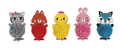 Janod - Kreativ Set Basteln Tiere Pompons Wolle 5 Stück , Mehrfarbig (Strass Therapie)