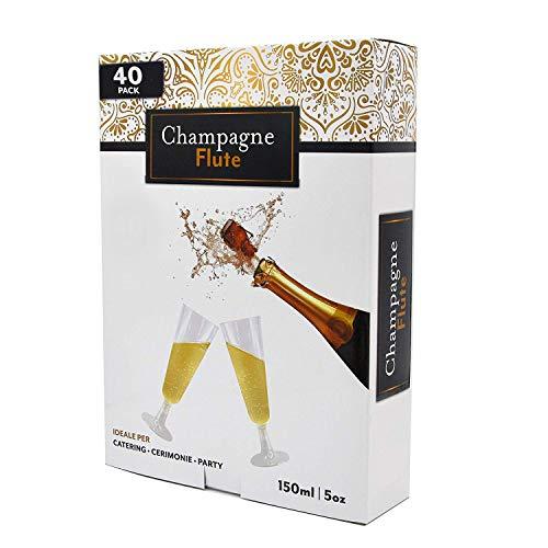 Copas de champán y vino espumoso, desechables, en caja de 40piezas, de plástico transparente, con base de fácil montaje, de atractivo diseño, se puedes utilizar para fiestas de adultos y niños.Se adaptan a todo los tipos de mesas y eventos, de plást...