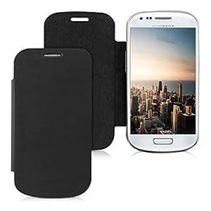 Étui de protection à rabat pratique et chic pour Samsung Galaxy S3 Mini i8190 en Noir de la marque kwmobile
