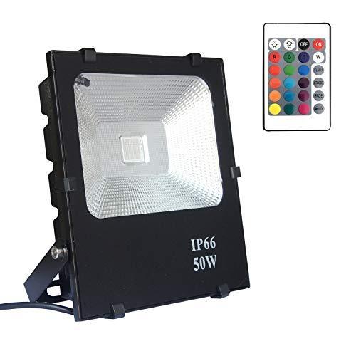 AUFUN Focos de exterior 50W LED reflector faro RGB Proyector exterior LED...