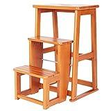 ZENGAI Holzleiter Trittleiter 3 Stufen Klapphocker Multifunktion Klappleiter Haushalt Küche Innen Dreistufige Leiter (Farbe : Gelb)