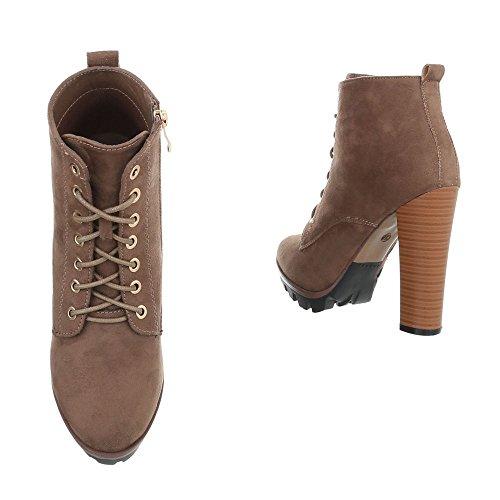 High Heel Stiefeletten Damenschuhe High Heel Stiefeletten Pfennig-/Stilettoabsatz High Heels Reißverschluss Ital-Design Stiefeletten Hellbraun 118-1-1