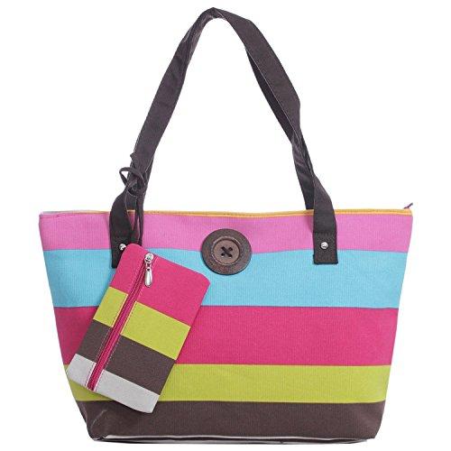 Stripe Canvas Tote Bag Vintage Button Holiday Beach Shoulder Handbag (rainbow)