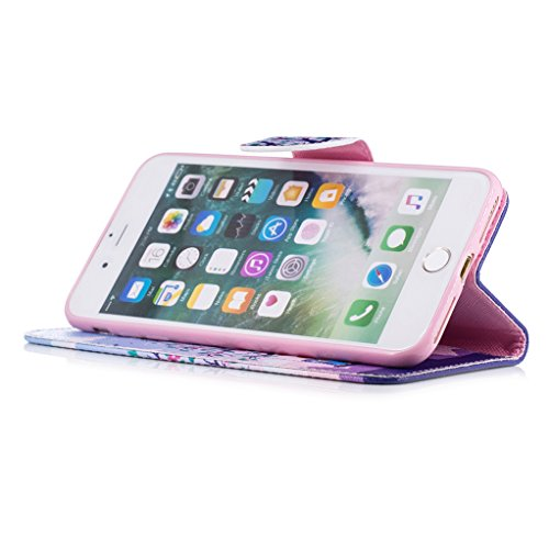 Trumpshop Smartphone Case Coque Housse Etui de Protection pour Apple iPhone 7 (4.7-Pouce) + Don't Touch My Phone (Ourson) + Mode Portefeuille PU Cuir Avec Fonction Support Anti-Chocs Famille de hibou