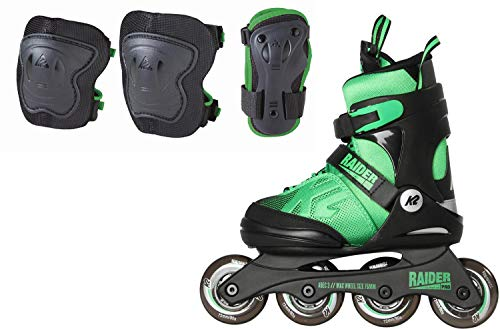 K2 Unisex-Kinder Raider Pro Pack Skateboardschuhe, Schwarz (Black/Green 001), 35 EU