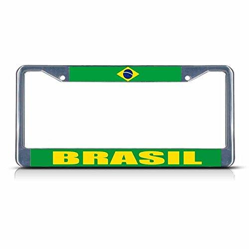 Preisvergleich Produktbild Brasilien-Flagge aus Metall für Nummernschild,  Zwei Löcher,  perfekt für Männer und Frauen,  Auto-Garadge Dekor
