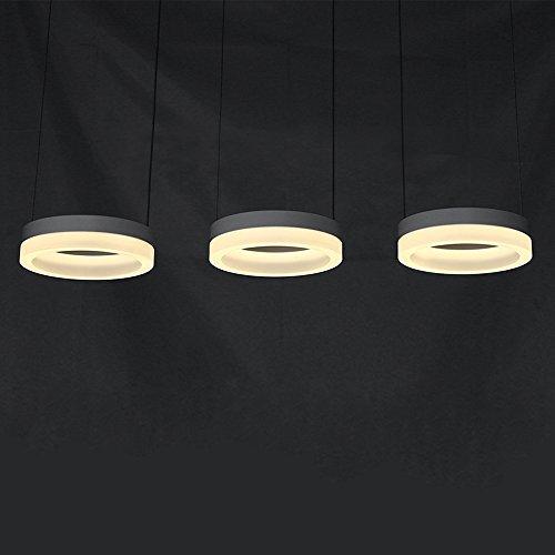 LED Pendelleuchte, Hängeleuchte, Kronleuchter, Esstischleuchte, Esszimmerlampe, Modern Rund 3 flammig Design, Decke Leuchte, Bleuchtung Deko Lampe, Eisen Acryl, Warm Licht 3000K, 30W, L 75cm