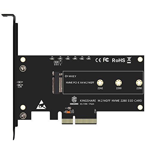 Foto de SODIAL PCI-Expreso PCI-E 3.0 X 4 a M.2 NGFF M Tarjeta adaptador conversor de ranura de llave M2 Nvme PCIE SSD Tarjeta de conversion para computador de escritorio Soporte 2230 2242 2260 2280