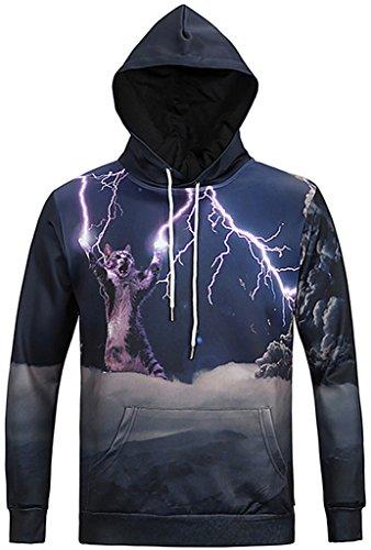 Pizoff Unisex Hip Hop Sweatshirts druck Kapuzenpullover mit Farbkleks 3D Digital Print blitz katzen cat hero Y1760-16-L