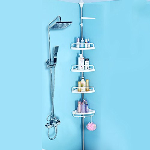 4 Tier Adjustable Kitchen Bathroom Shower Corner Shelf Rack Towel Rail Organiser Caddy