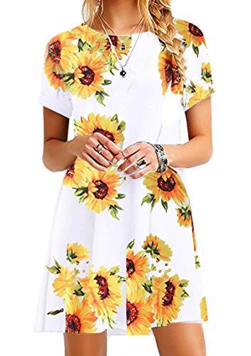 YMING Damen Lockeres Kleid Mini Blusenkeid Kurzarm Lange Shirt Casual Strickkleid Mini,Weiße Sonnenblume,L/DE 40 Zip Detail Mini