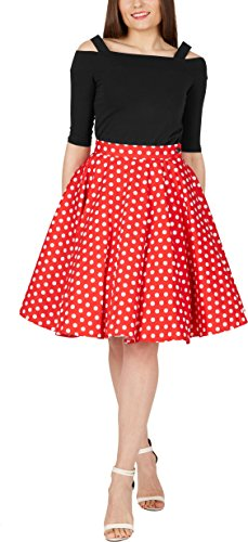 Frauen Mouse Minnie Kostüm - BlackButterfly Polka-Dots 1950er-Jahre Swing Tellerrock (Rot, EUR 40 - M)